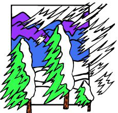 Drawing of trees in a blizzard.