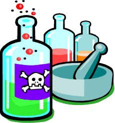 Drawing of bottles containing deadly poison.