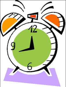 Drawing of a ringing alarm clock