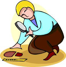 Drawing of a woman investigating a footprint.