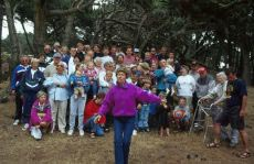 Photograph of people at a family reunion.