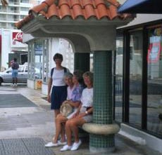 Photograph of people in a sheltered place.