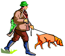 Illustration of a hunter and hunting dog